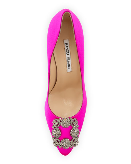 Hangisi Crystal-Buckle Satin 105mm Pump, Fuchsia