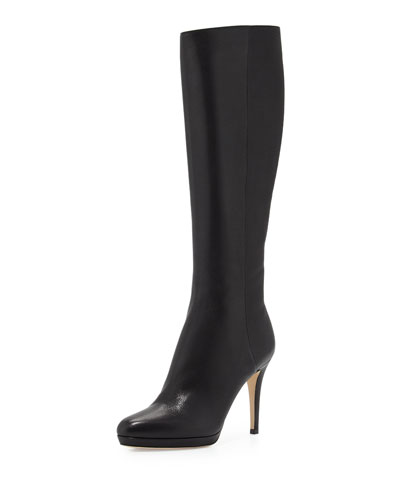 Glynn Leather Knee Boot, Black