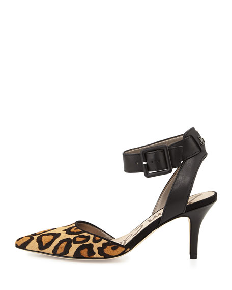 Okala Ankle-Strap Pump, Leopard