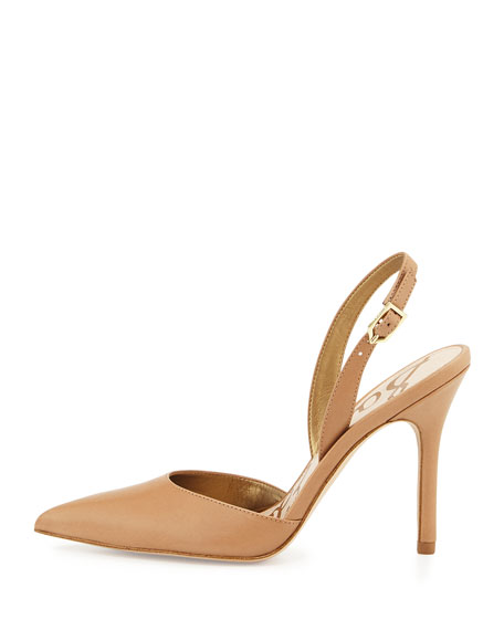 Dora Leather Slingback Pump, Camel