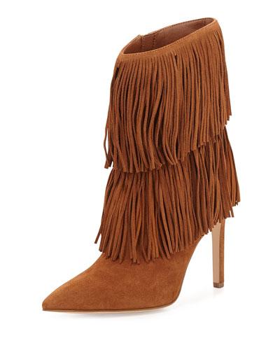 Belinda Mid-Calf Fringe Boot, Soft Saddle
