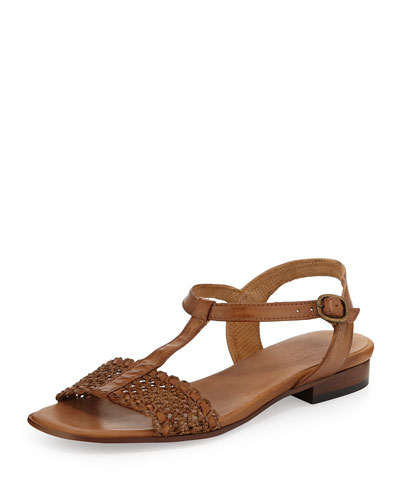 Kornel Woven Leather Sandal, Camel