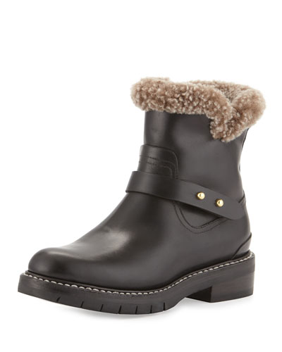 Ashford Fur-Lined Moto Boot, Black