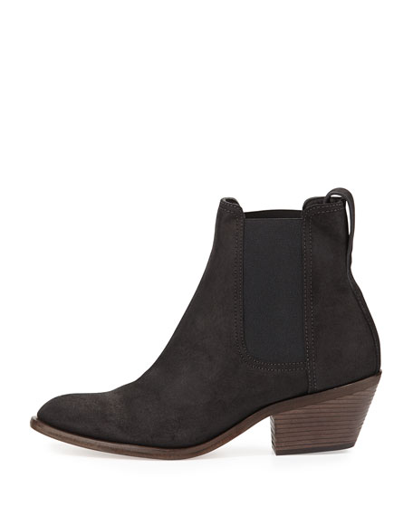 Dixon Waxed Suede Ankle Boot, Black