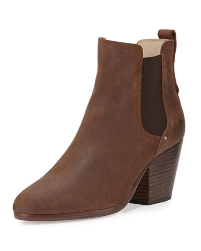 Devon Waxed Suede Bootie, Brown