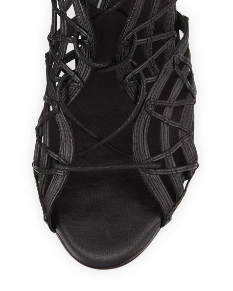 Leah Lattice Lace-Up Sandal, Black