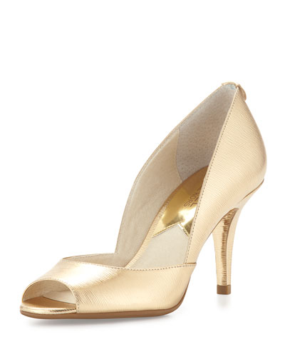 Natalie Metallic Open-Toe Pump, Pale Gold