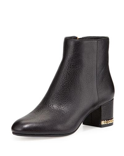 Sabrina Chain-Heel Ankle Bootie, Black