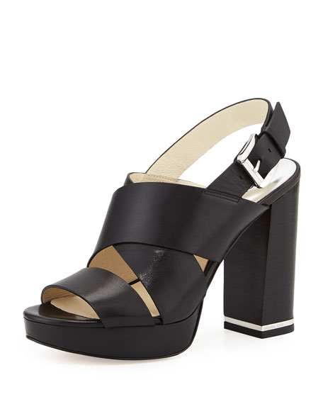 MICHAEL Michael Kors Sedgwick Leather Slingback Sandal, Black