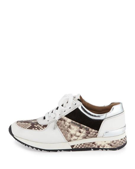 michael michael kors allie wrap leather sneaker natural