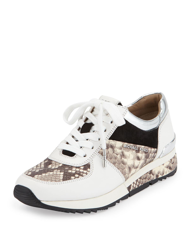 390a8b64ffb MICHAEL Michael Kors Allie Wrap Leather Sneaker, Natural | Neiman Marcus