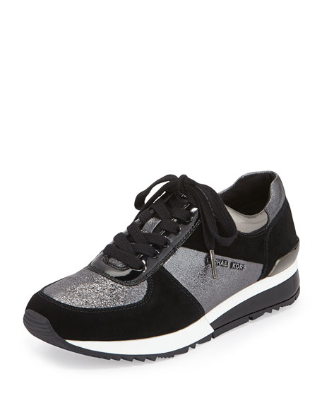 Allie Wrap Leather Sneaker, Gunmetal