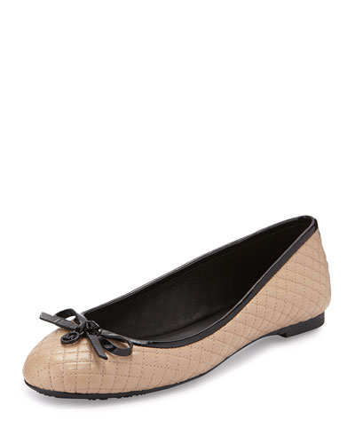 Melody Quilted Patent Ballet Flat, Nude
