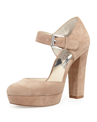 Flynn Suede Platform Mary Jane Pump, Dark Khaki