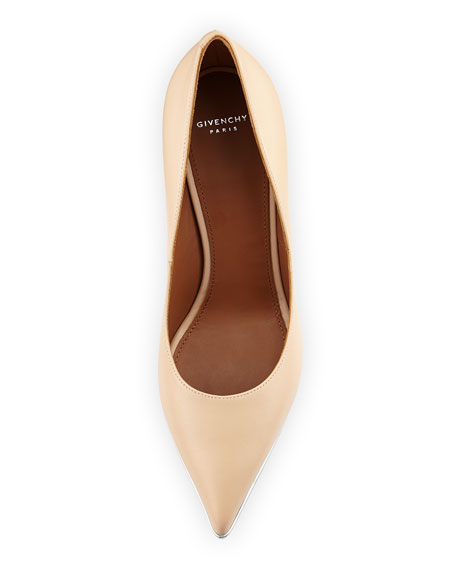 Lia Pointed-Toe Leather Pump, Beige