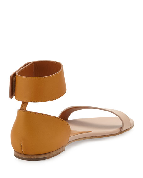 Gala Two-Tone Leather Sandal, Nude/Cognac