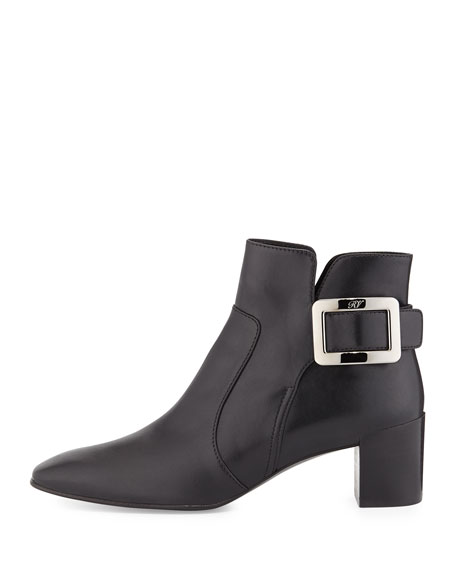 Roger Vivier Polly Leather Side-Buckle Ankle Boot, Black