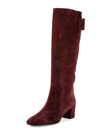 Roger Vivier Polly Suede Buckle Knee Boot, Bordeaux