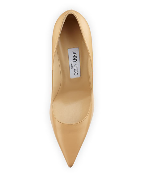 Abel Leather Point-Toe Pump, Nude