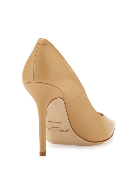 Jimmy Choo Abel Leather Point-Toe Pump, Nude