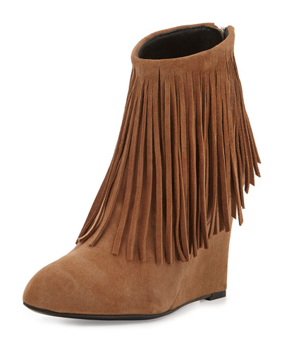 Fringed Suede Ankle Boot, Camel