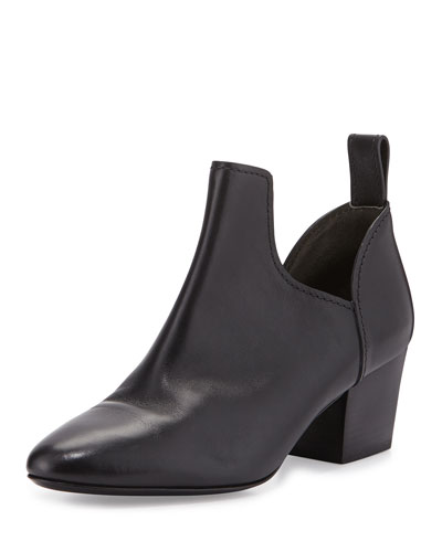 Taylor Leather Pull-On Bootie, Black
