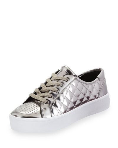 Sandra Quilted Leather Low-Top Sneaker, Gunmetal