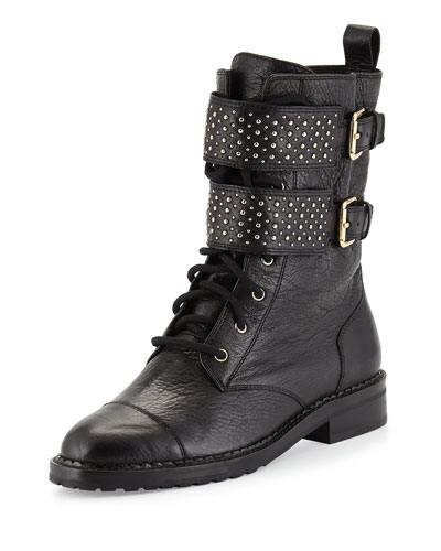 Mollie Studded Moto Boot, Black