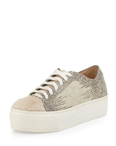 Miko Fur-Front Lace-Up Sneaker, Cream/Bone