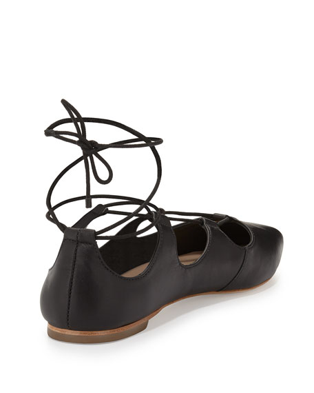 Ambra Lace-Up Ballet Flat, Black
