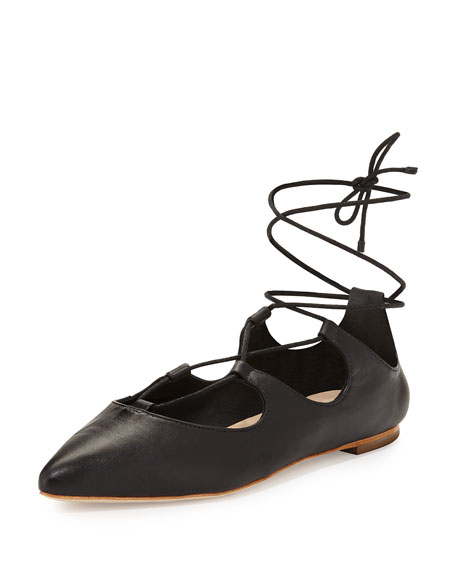 Loeffler Randall Ambra Lace-Up Ballerina Flat, Black