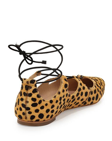 Ambra Calf-Hair Lace-Up Ballerina Flat, Cheetah