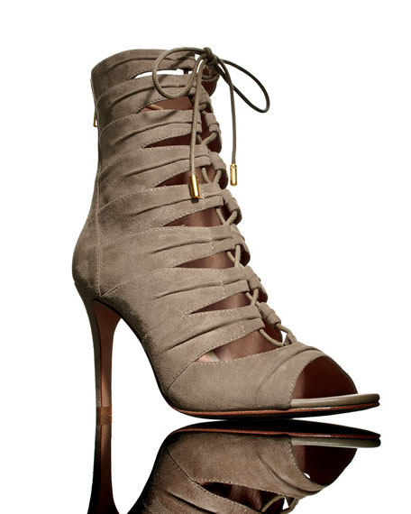 Anja Lace-Up Cage Bootie, Mousse Tan