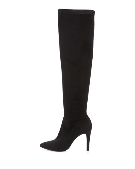 Image 2 of 4: Jenna Faux-Suede Stretch Boot, Black
