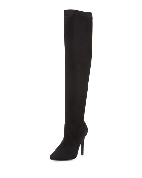 Image 1 of 4: Jenna Faux-Suede Stretch Boot, Black