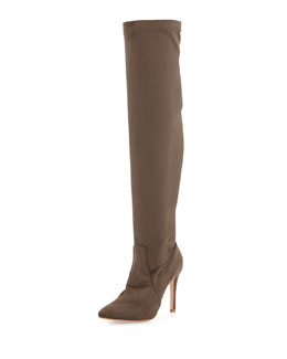 Jenna Faux-Suede Stretch Boot, Dark Taupe