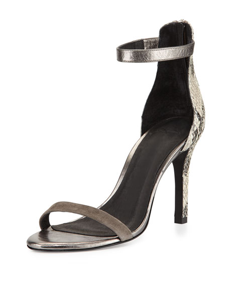 Joie Abbot Mixed-Print d'Orsay Sandal, Pewter/Cinder
