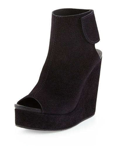 Terrie Suede Wedge Bootie, Black