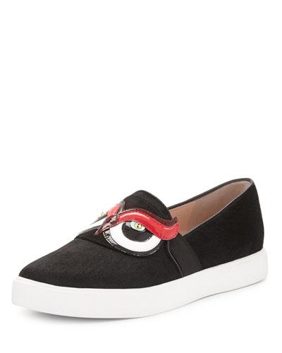 colie calf-hair owl skate sneaker, black