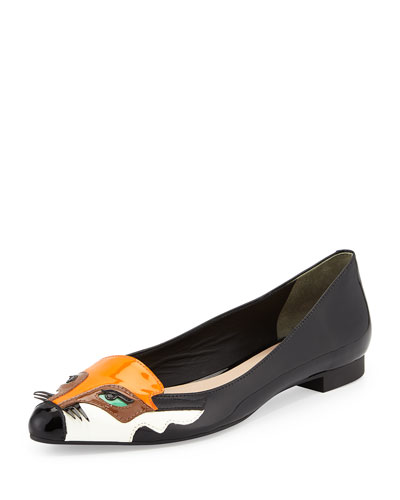 ericka fox-face slip-on flat, black