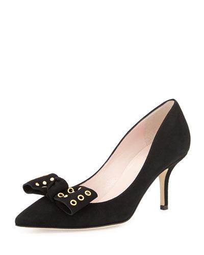 justine grommet-bow suede pump, black