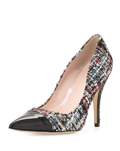 lacy tweed cap-toe pump, black/white