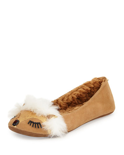 salena fox-face sequin slipper, honey