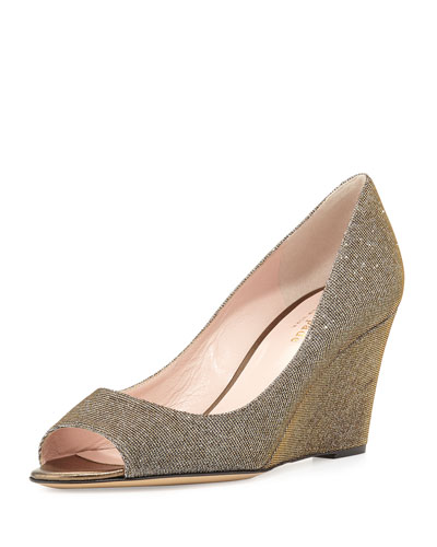 radiant sparkly wedge pump, bronze