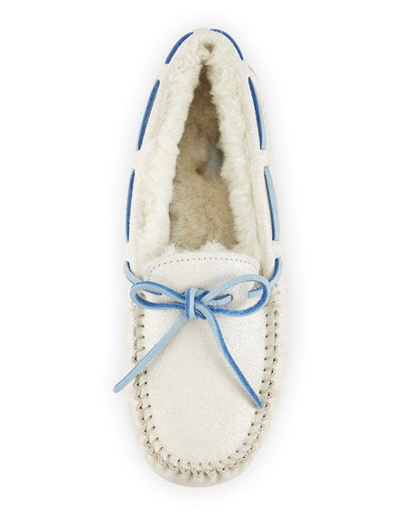 I Do! Shimmery Suede Bridal Dakota Slipper, White