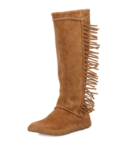 Mammoth Suede Fringe Knee Boot, Chestnut
