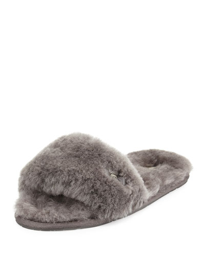 Fluff Shearling Fur Slide Slipper, Gray