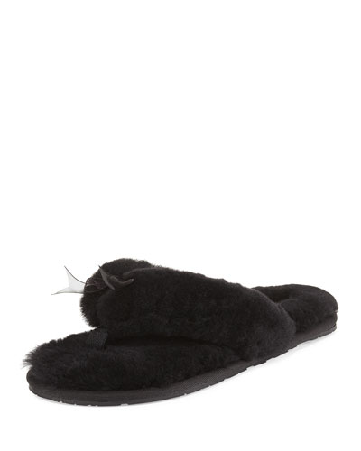 Fluff Shearling Fur Flip-Flop Slipper