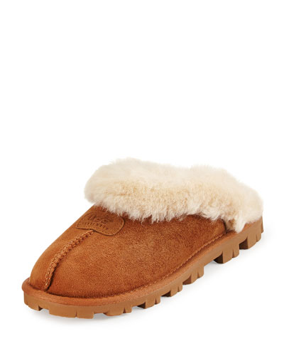 Coquette Shearling Mule Slipper, Chestnut