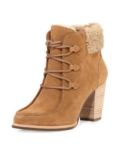 Analise Lace-Up Ankle Bootie, Chestnut